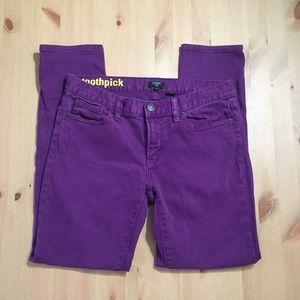 J. Crew Purple Toothpick Jeans